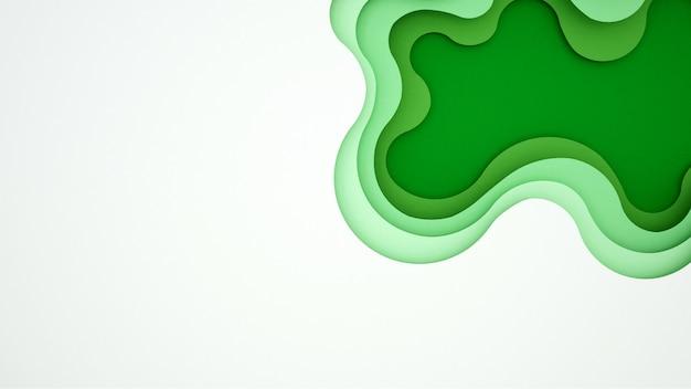 アートワークグリーンウェーブと空のスペース