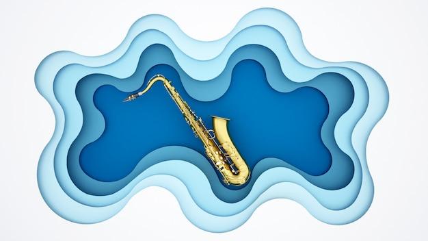 青い波の背景にサックス