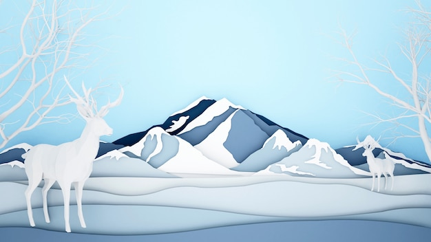 氷山の背景にトナカイ