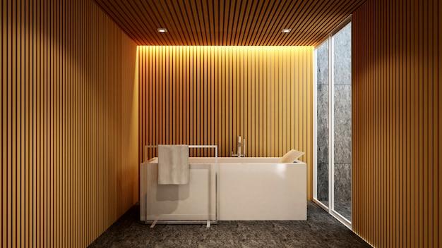 ホテルまたはアパートのアートワーク用のバスルームと屋外の眺め、