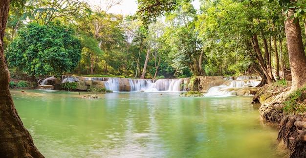 熱帯林の山の上の森の滝