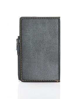 黒革のメモ帳とペン絶縁型