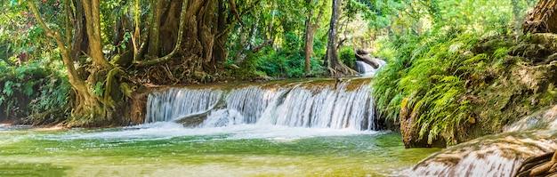 熱帯林の山の森のパノラマ滝