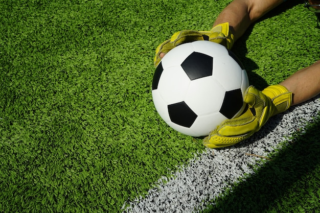 ゴールにサッカーボール