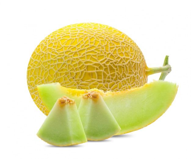 Желтая дыня плоды канталупа на белом фоне