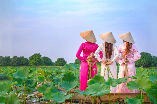ベトナムの女性は蓮を集めています