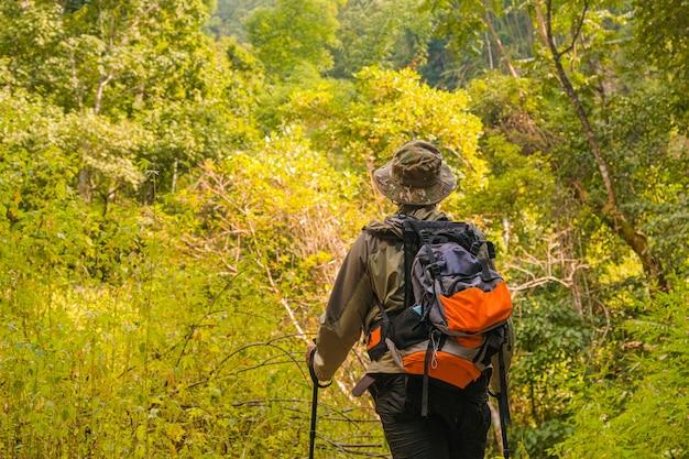 若い男はバックパックと夏の屋外の山に立っている登山用ポールで育ちました。