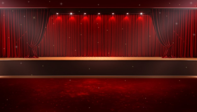 赤いカーテンとスポットライト。祭り夜ショーポスター