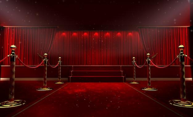 Красный занавес и прожектор. фестиваль ночной шоу постер