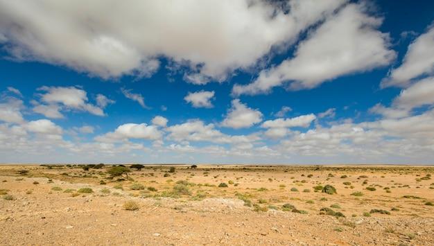 Морокканский ландшафт пустыни с голубым небом. марокко