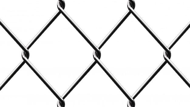 金属メッシュフェンス。白い背景にある金属メッシュの背景