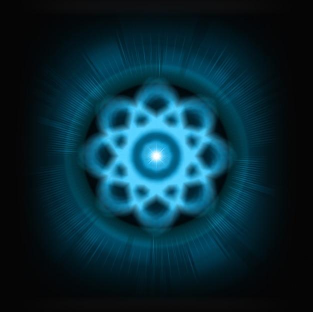 Синяя сияющая атомная схема.