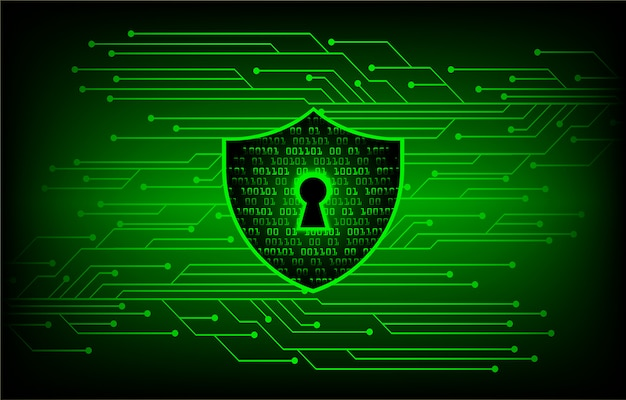 Закрытый замок на цифровом фоне, зеленый кибербезопасности