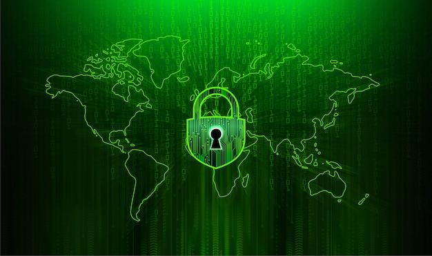 Закрытый замок на цифровом фоне, мир кибербезопасности