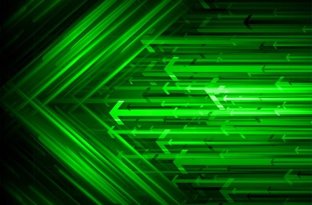矢印、緑色の光の抽象的な技術の背景