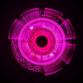 ピンクの目サイバー回路未来技術コンセプトの背景