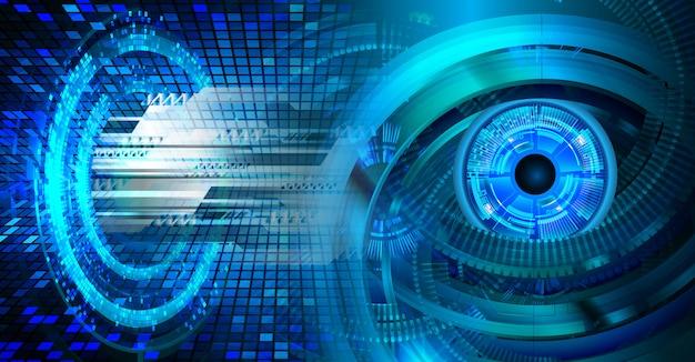 青い目サイバー回路未来技術コンセプト