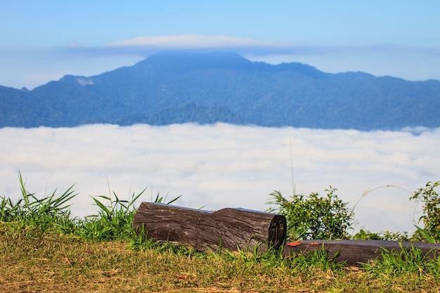 霧と雲山の谷の風景