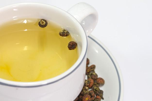 白い背景に菊の花のお茶