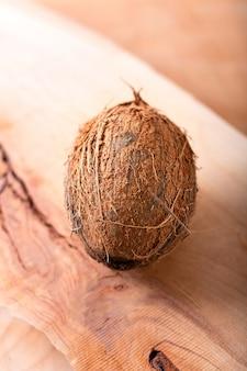 Весь один органический тропический кокосовый фрукт на фоне дерева с копией пространства