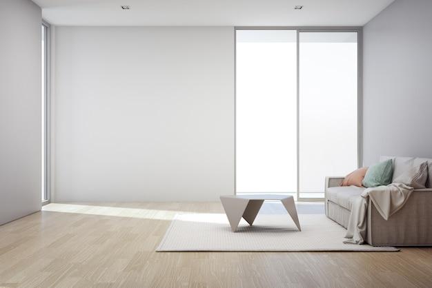 現代的な新しい家の居間の空の灰色のコンクリートの壁の背景と木製の床、