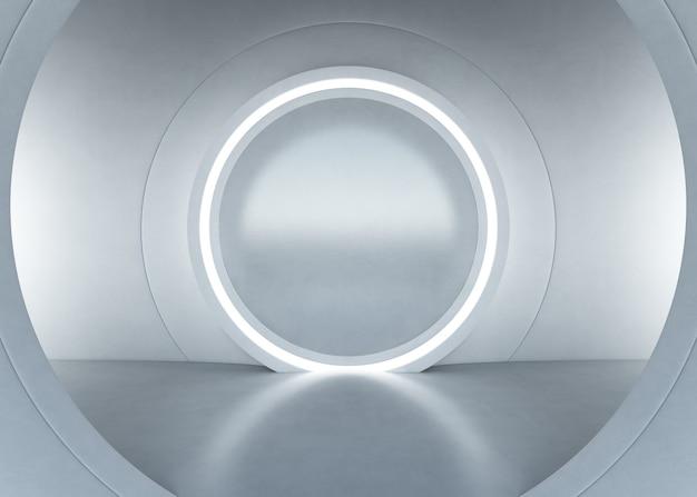空コンクリートの床と白い壁のバックグを備えたモダンなショールームの抽象的なインテリアデザイン