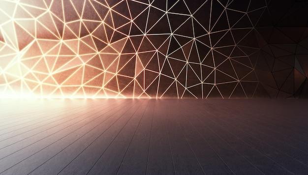 大きなホールまたはモダンなショールームの灰色のコンクリートの床に幾何学的形状の構造。