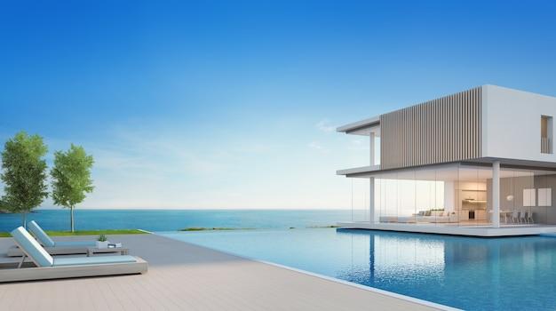 モダンなデザインのスイミングプールとテラスが備わる豪華なビーチハウスです。