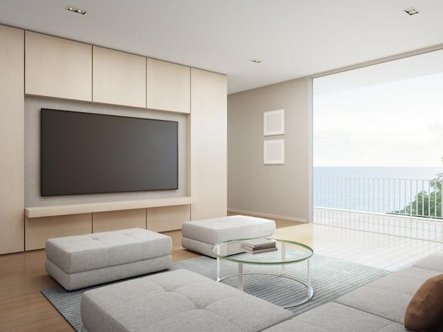 海の景色モダンで豪華なビーチハウスのテラス付きリビングルーム