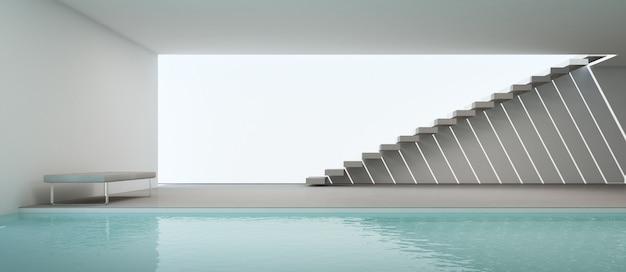 スイミングプールと白い壁のモダンな家のインテリア。