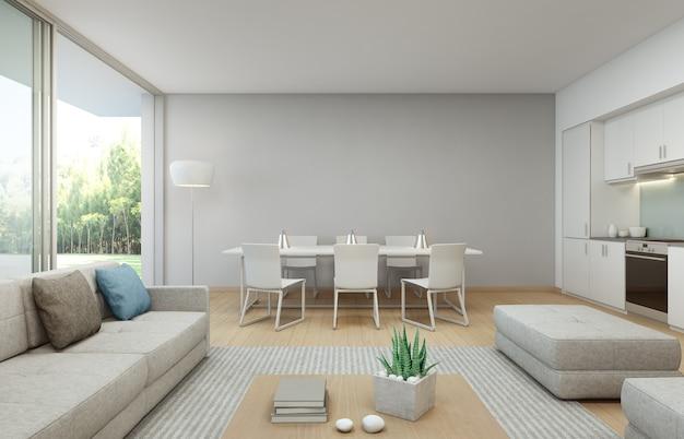 Столовая и гостиная в роскошном доме в современном дизайне