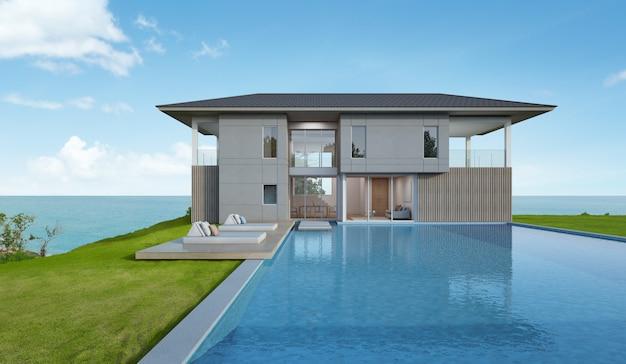 Пляжный домик и бассейн с видом на море в современном дизайне.