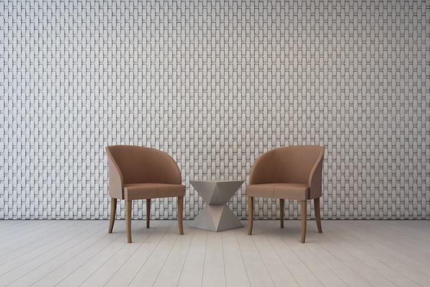 壁の装飾パターンとアームチェアを備えた白いインテリア。