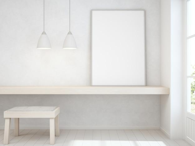 Белая пустая рамка на деревянный стол с бетонной стеной