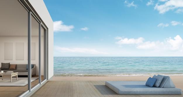 Пляжный дом с видом на море в современном дизайне.
