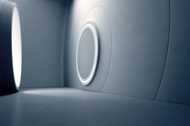 空の灰色のコンクリートの床と暗い壁とモダンなショールームの抽象的なインテリアデザイン