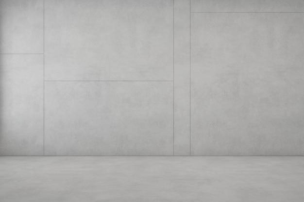 Комната с белым конкретным полом и пустой стеной в современном доме.