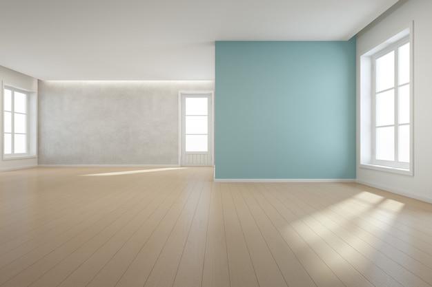 Деревянный пол с голубой бетонной стеной в большой комнате в современном новом доме для большой семьи.