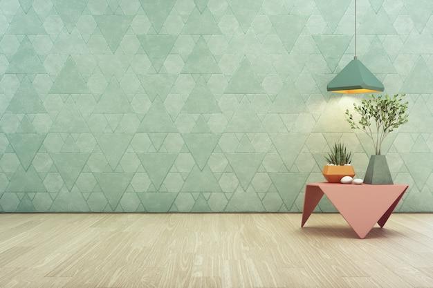 ピンクのスチールコーヒーテーブルと空のターコイズブルーの三角形のパターンの壁ランプの屋内植物
