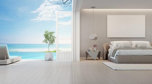Спальня с видом на море, роскошный летний пляжный домик с двуспальной кроватью возле деревянного пола, терраса и бассейн