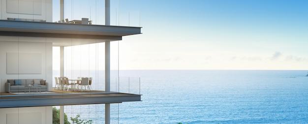 近代的なオフィスの海の景色の会議および居間。豪華なインテリアの建物。
