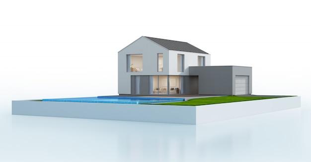 モダンなデザインのスイミングプール付きの豪華なスカンジナビアの家。