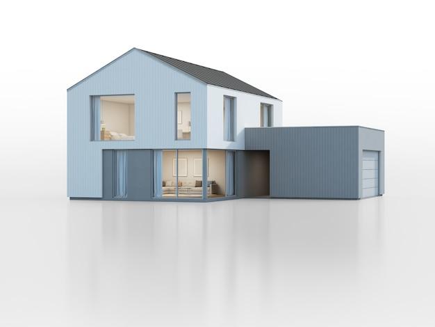 モダンなデザインのガレージ付きの豪華なスカンジナビアの家。