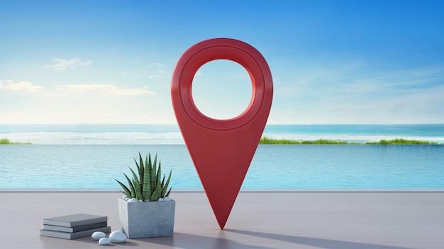 旅行とリラクゼーションコンセプトの高級ビーチハウスの海ビュースイミングプール。