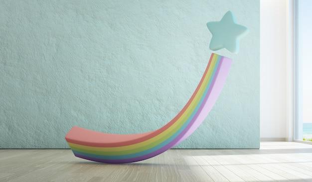 Игрушка радуги на деревянном поле детской комнаты вида на море с пустой грубой голубой конкретной текстурой стеной в роскошных пляжном домике или загородном доме лета.