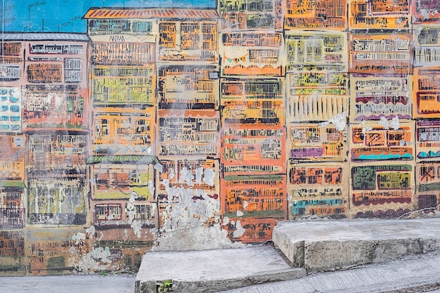 Стрит-арт живопись или граффити на стене на голливуд-роуд, гонконг
