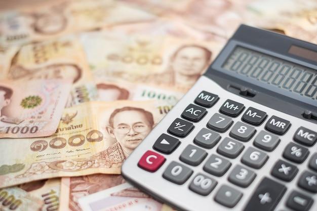 タイバーツ紙幣。ビジネス、投資、金融