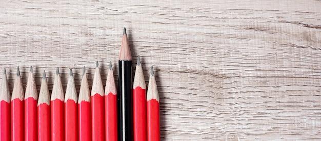 赤鉛筆の群衆とは異なる黒鉛筆。ユニークなリーダー、戦略、独立性、異なる考え方、ビジネスと成功