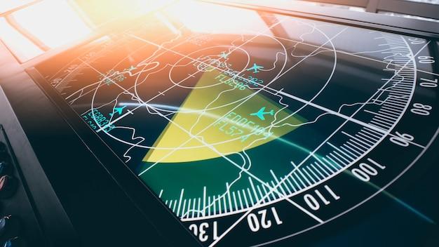 輸送および乗客向けのさまざまなフライトを示すシミュレーション画面。