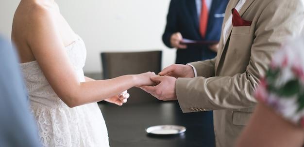 新郎新婦のための結婚指輪を着て